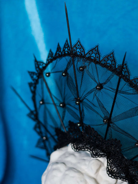 Minerva black  halo crown with hematite and black lace