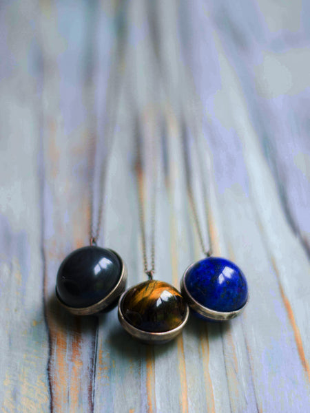 LaLuna Orb Crystal Globe pendant in Black obsidian, Tiger eye and Lapis Lazuli - MoonDome - 3