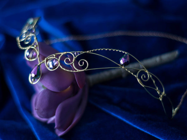 Antheia Golden brass circlet with purple crystals