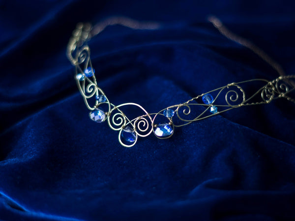 Amphitrite Golden brass circlet with blue iridescent crystals