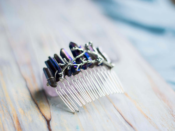 Woodland goddess blue hair comb with silver twig - MoonDome - 1