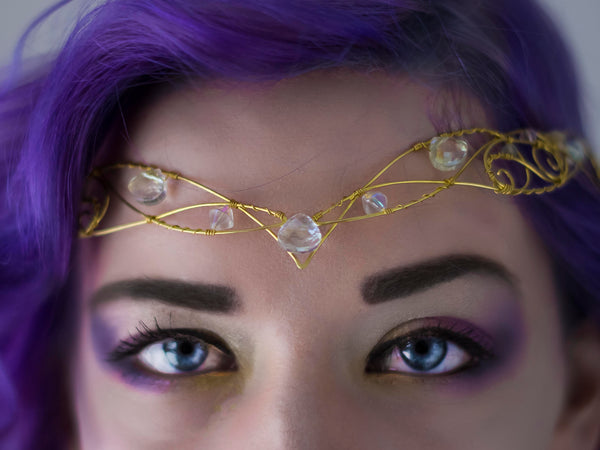 Hecate Golden brass circlet with champagne colour  iridescent crystals
