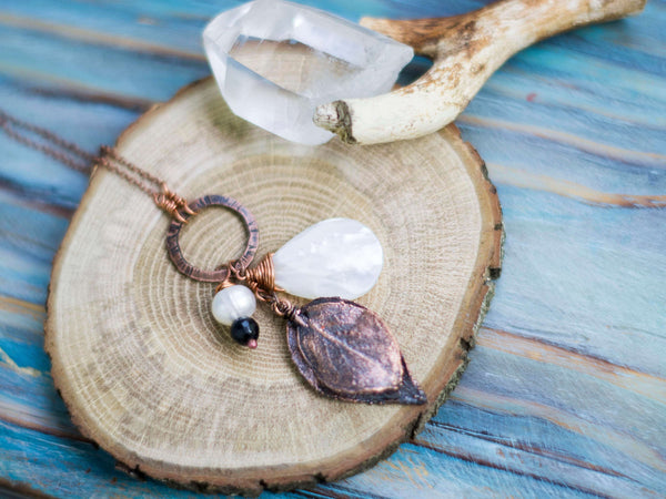 Natural real leaf organic copper long chain pendant with mother of pearl drop - MoonDome - 1