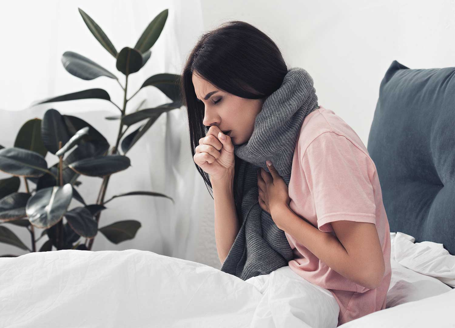 sick young women sufferings from cold sores