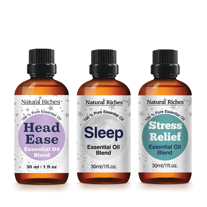 Tranquility Serenity Essential Oil Blends sets  (Sleep, Stress Relief and Head Ease) 1x3