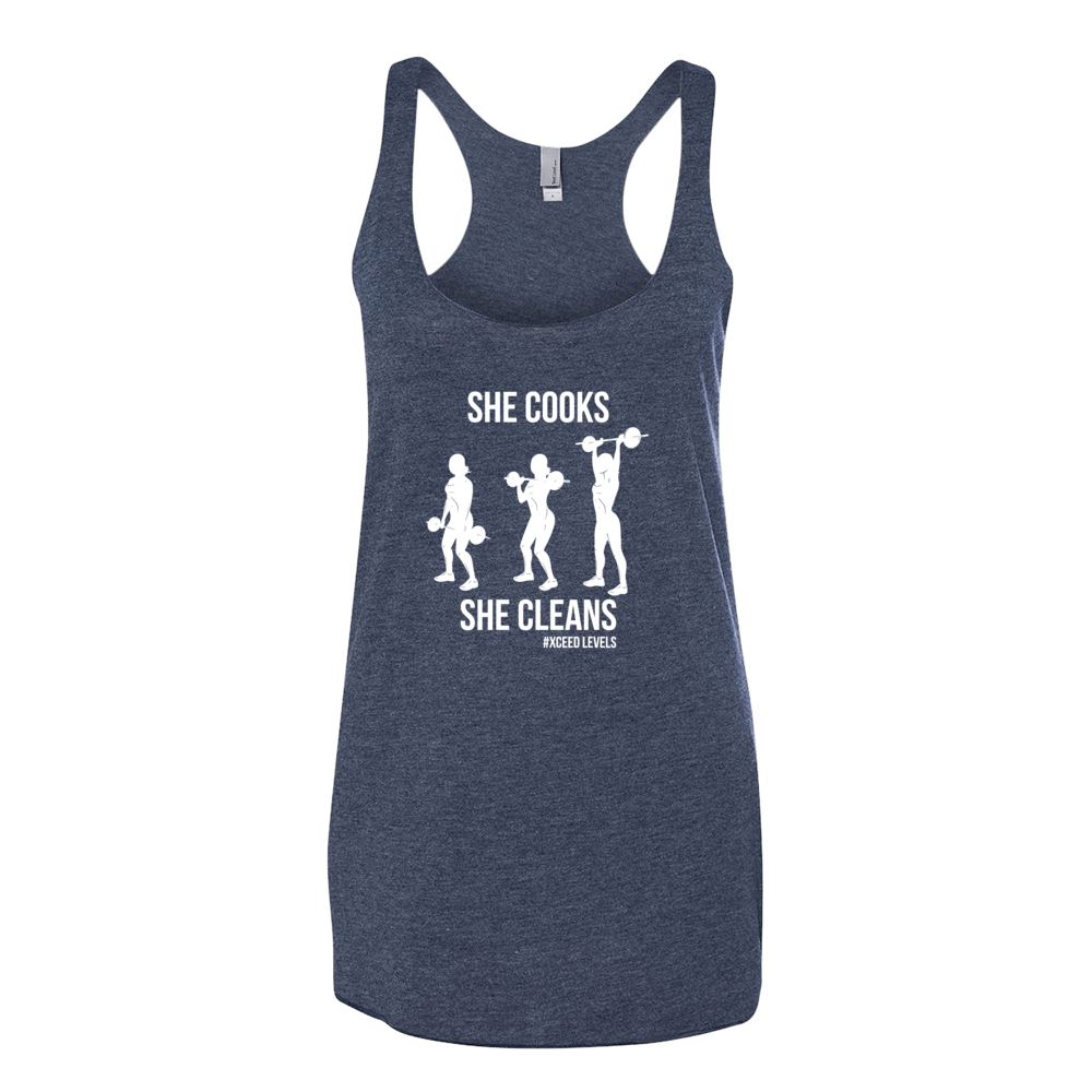 She Cooks & She Cleans (Racerback) - White Font