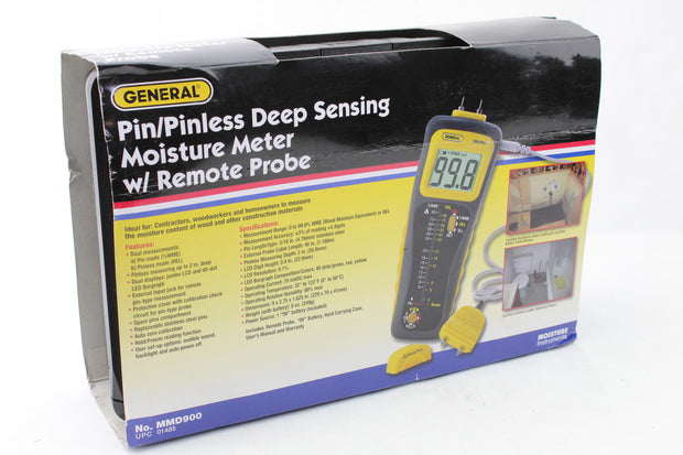 General Tools MMD900 Moisture Meter, Pin Type or Pinless, Deep Sensing with Re.. - Like New