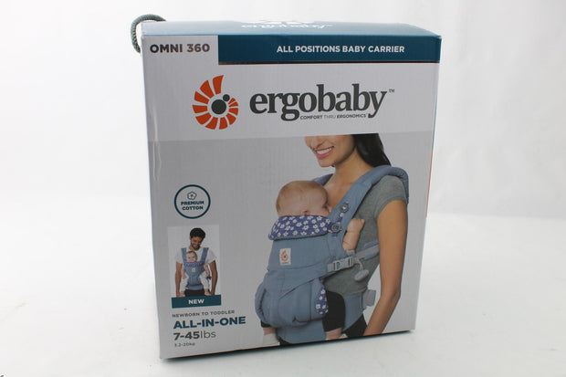 Ergobaby Carrier Omni 360 All Carry Positions Baby Carrier Blue Daisies - Like New-Ergobaby-Salechamps.com