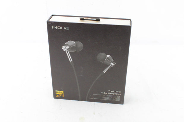 1MORE Triple Driver in-Ear Earphones Hi-Res Headphones  - Silver - Used - Very Good