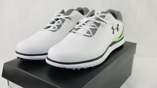 Under Armour Men's Showdown Golf Shoe, White (100)/Black, 14 M US -EUC
