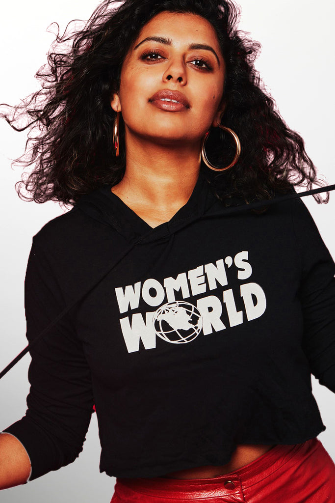 WOMENS WORLD CROPPED HOODIE