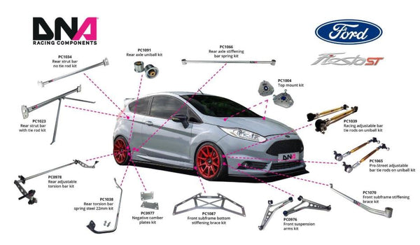 DNA Racing Pro Street adj sway bar tie rods on uniball kit 2014-2019 Fiesta ST