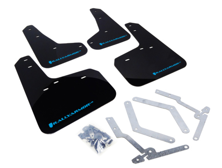 Rally Armor 13-16 Ford Focus ST /16-17 Focus RS UR Black Mud Flap with Nitrous Blue Logo *FREE SHIPPING*