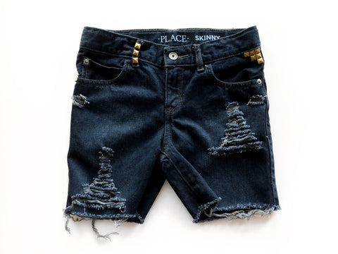 Midnight Black Distressed and Dyed Skinny Cutoffs