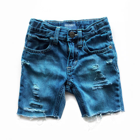 Sea Breeze Distressed and Dyed Skinny Cutoffs