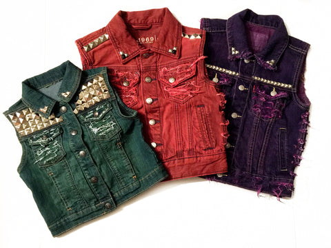 Distressed, Dyed, and Studded Denim Vest
