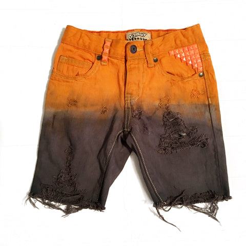 Jack-O-Lantern Distressed and Dyed Skinny Cutoffs