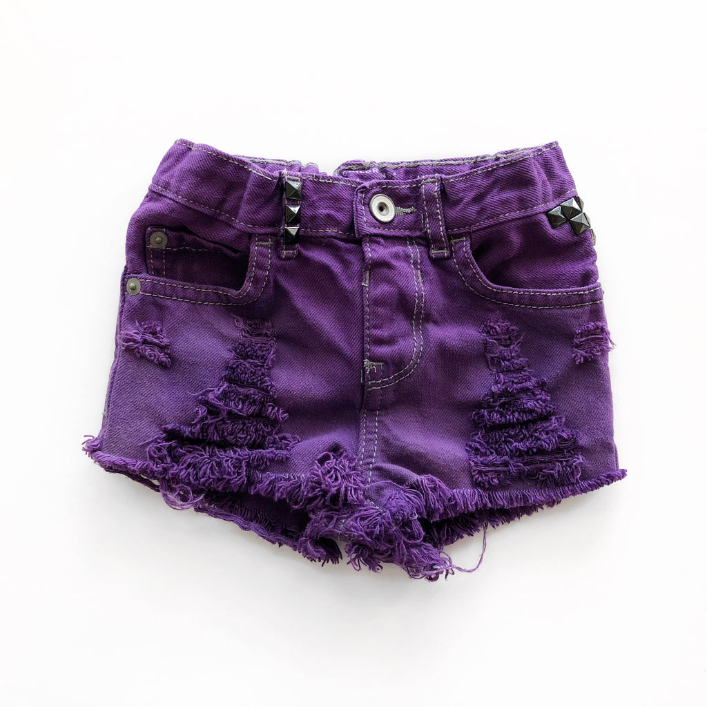 Purple Rain Distressed and Dyed Shorties