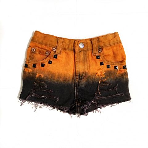 Jack-O-Lantern Distressed and Dyed Shorties