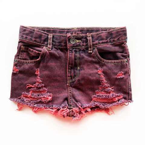 Ruby Red Distressed and Dyed Shorties