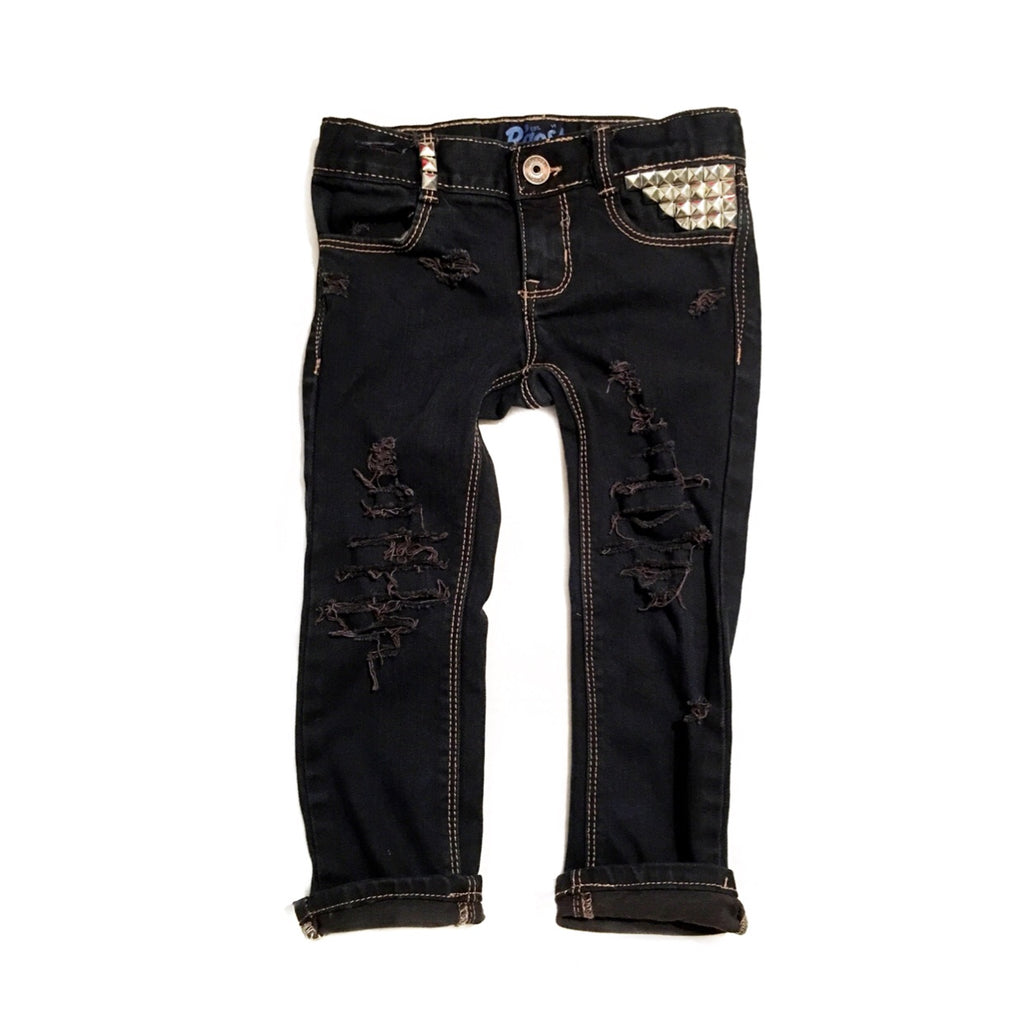 Midnight Black Distressed, Dyed, and Studded Skinny Jeans