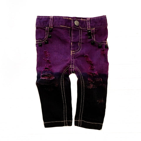 Maleficent Distressed, Dyed, and Studded Skinny Jeans