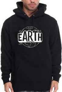 Black Pullover Hoodie w/ White EARTH Logo