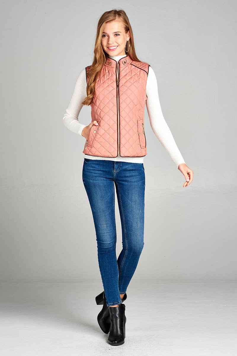 Women's Quilted Padding Vest With Suede Piping Details