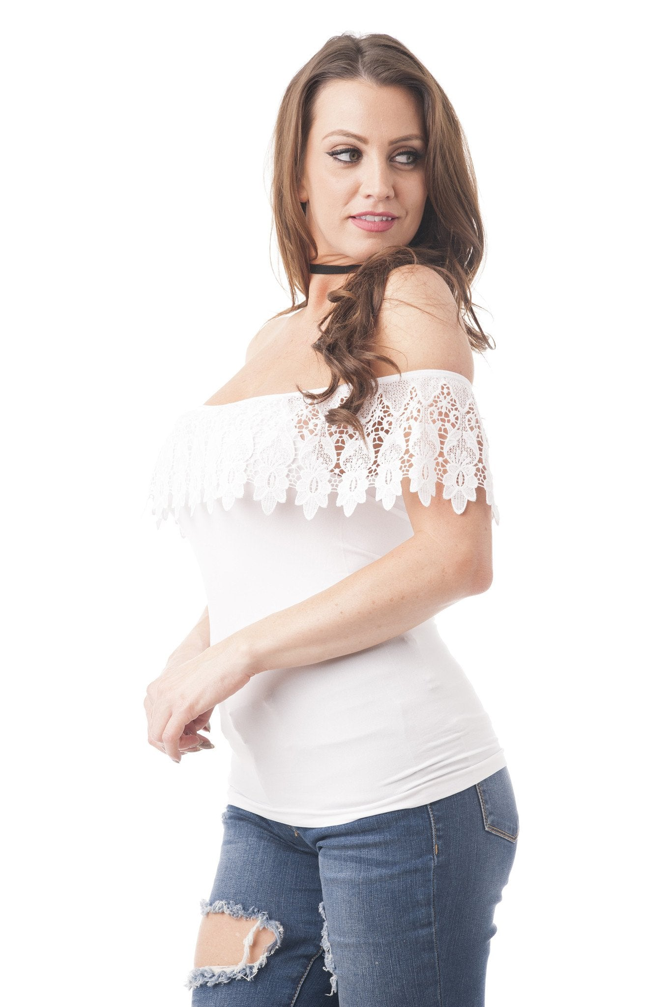 One Size Off Shoulder Lace Ruffle Trim Top