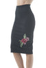 High Waisted Long Pencil Rose Embroidered Skirt