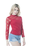 Long Sleeve Lace Mock Neck With Lining One Size Top