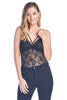 Women's One Size V Neck Lace Teddy Strappy Front Removable Padding Bra Thong Bodysuit