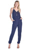 Women's Crinkled Cami Spaghetti Strap V Neck Surplice Long Skinny Straight Pants Jumpsuit