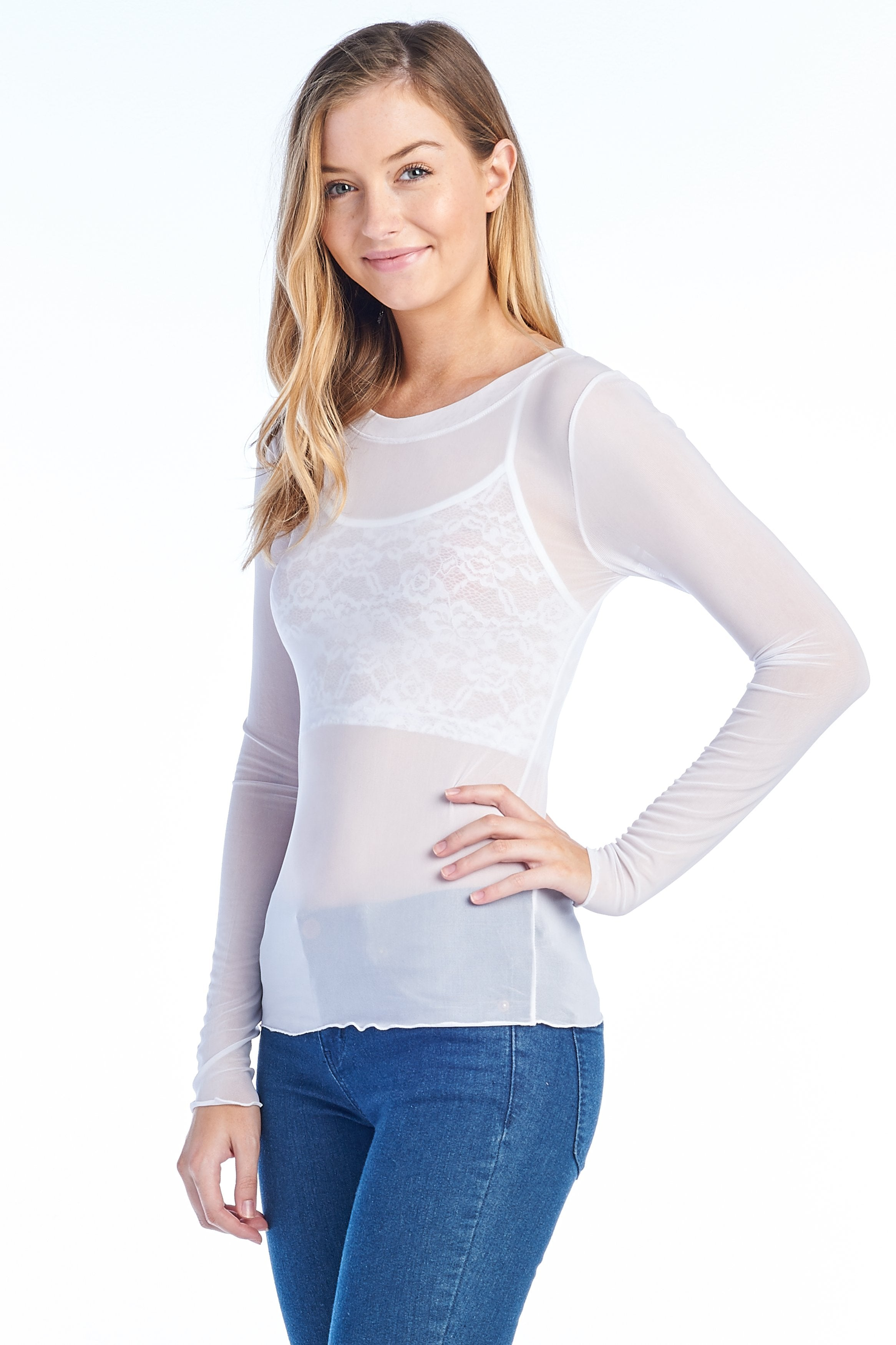 Women's Long Sleeve Unlined See Through Sheer Mesh Round Scoopneck Top
