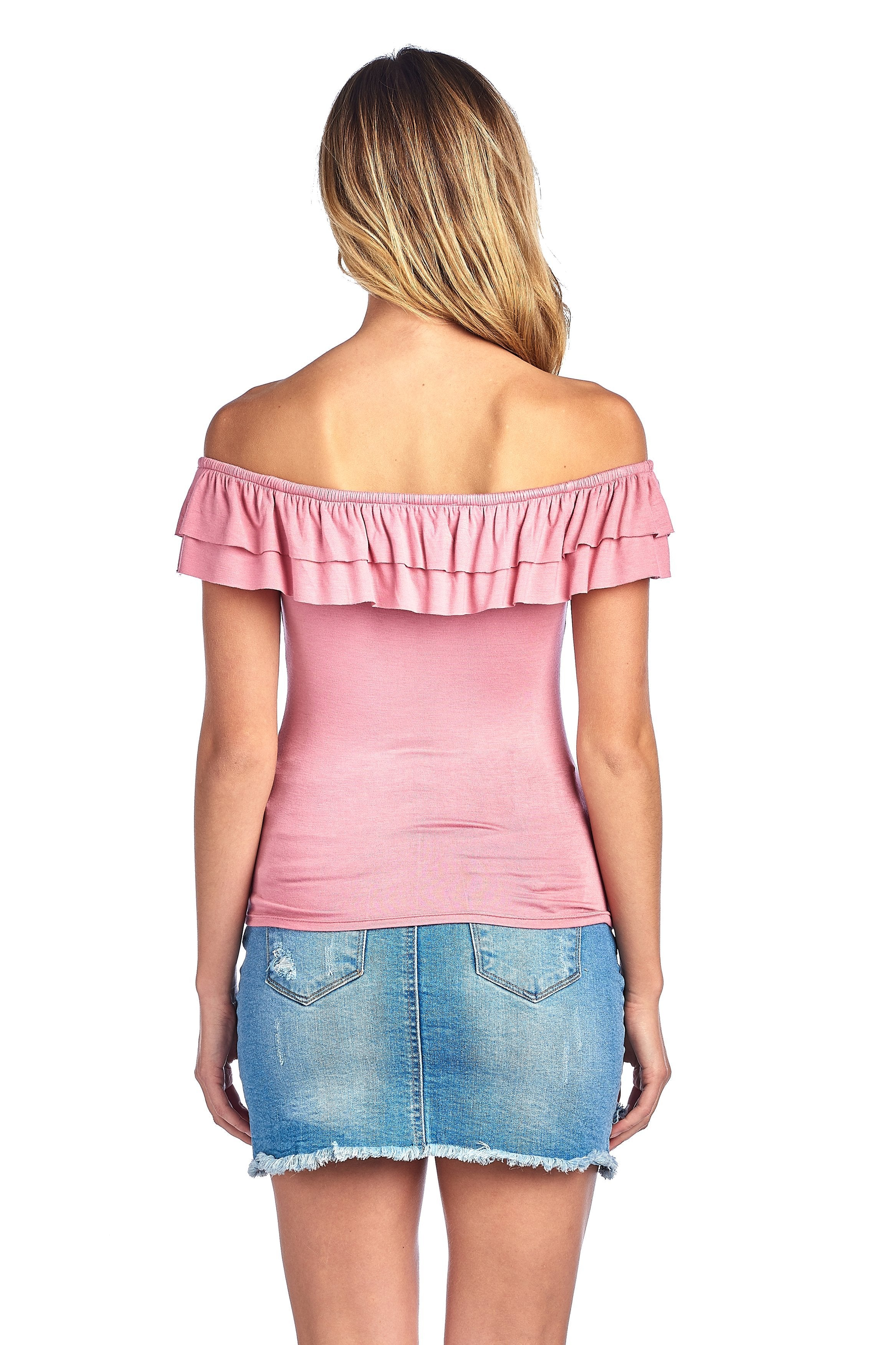 Plain Stretch Sleeveless Off The Shoulder Flounce Layered Semi Cropped Top