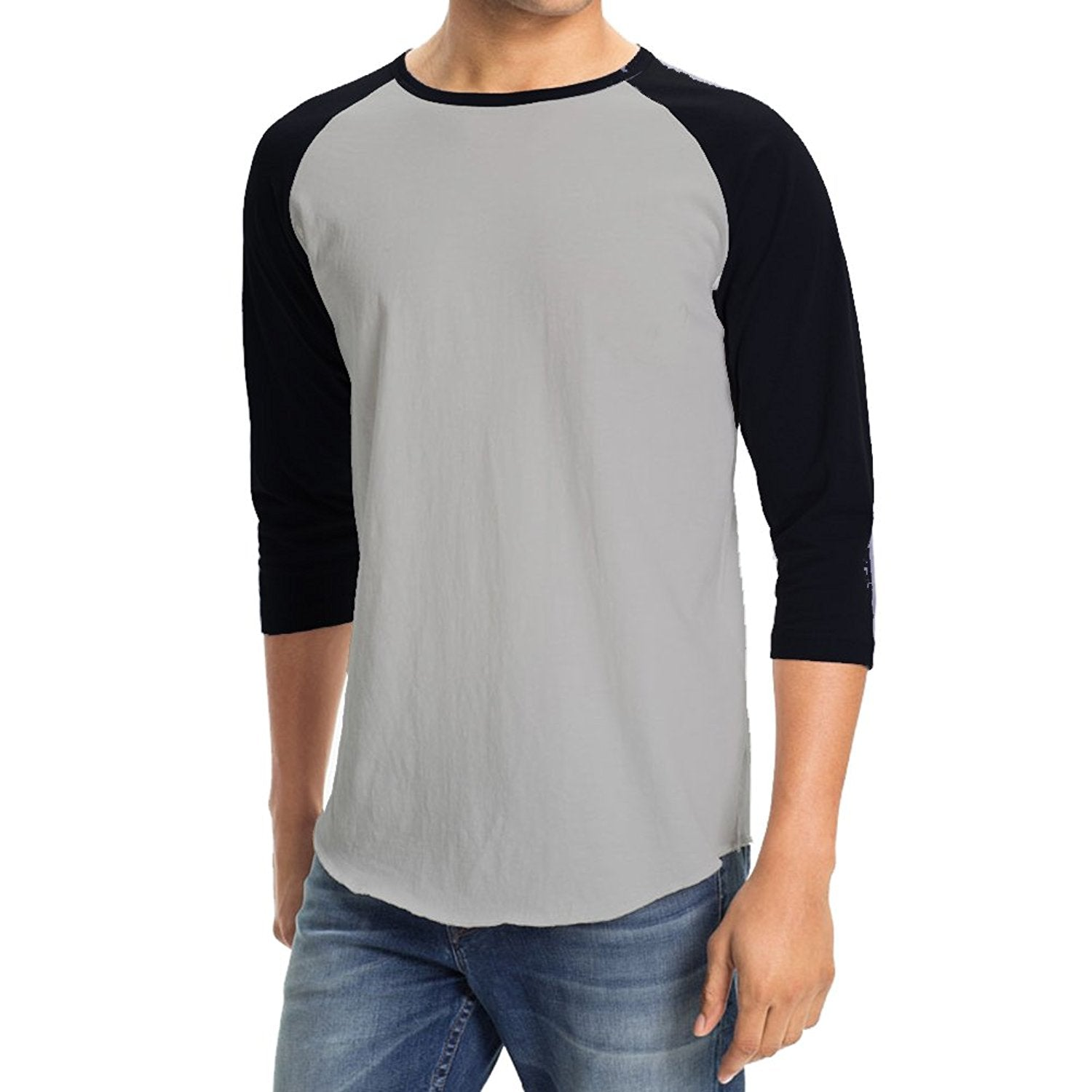 Hollywood Star Fashion Men's Plain Baseball Athletic 3/4 Sleeve Tee Shirt