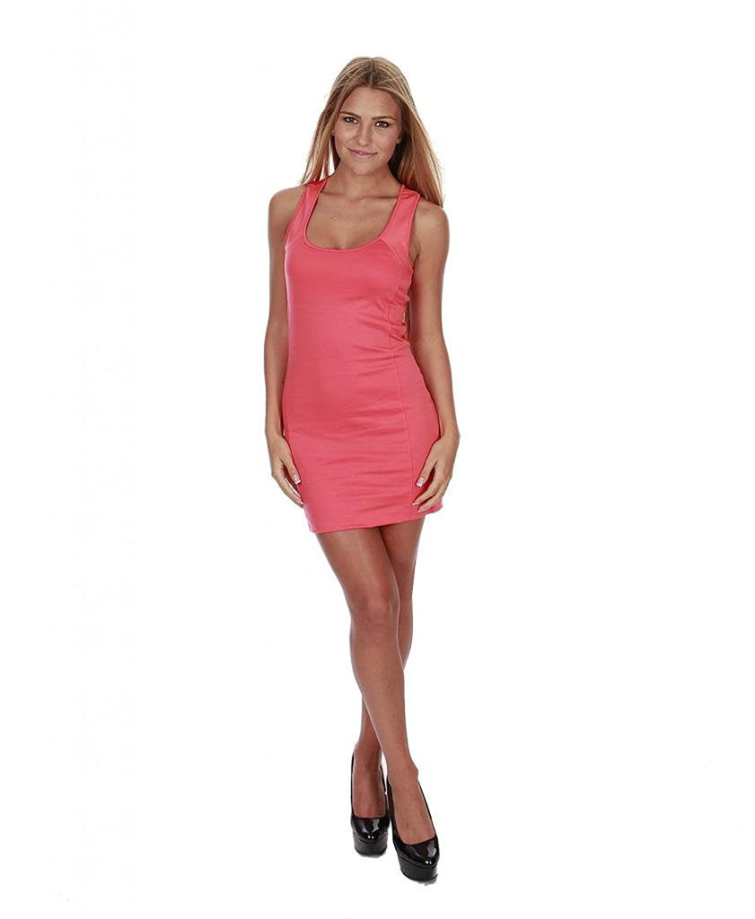 Hollywood Star FashiWomen's Mini Dress Stretch With Leather Straps