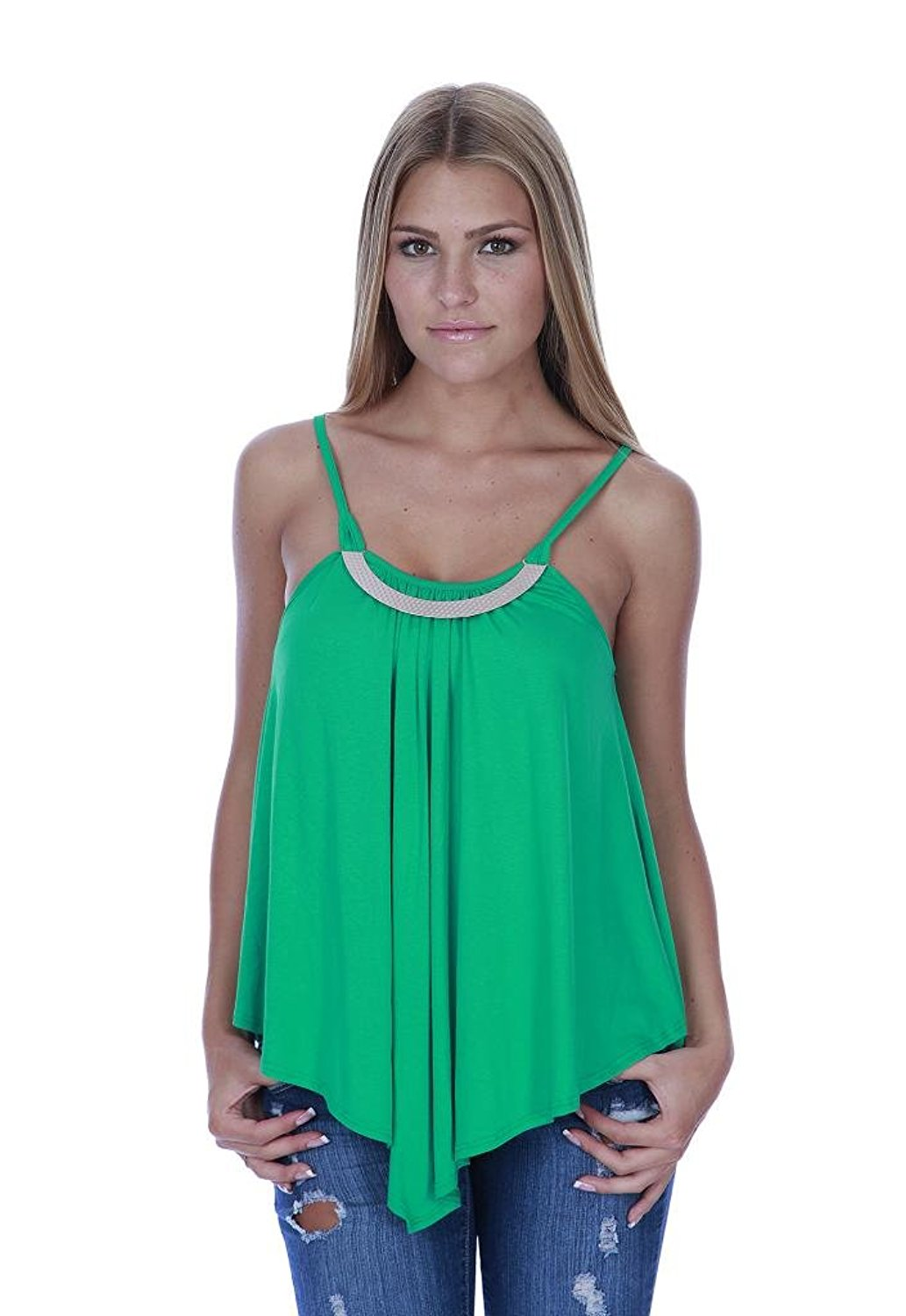 Hollywood Star Fashion Women's Flowy Full Length Solid Rayon Top