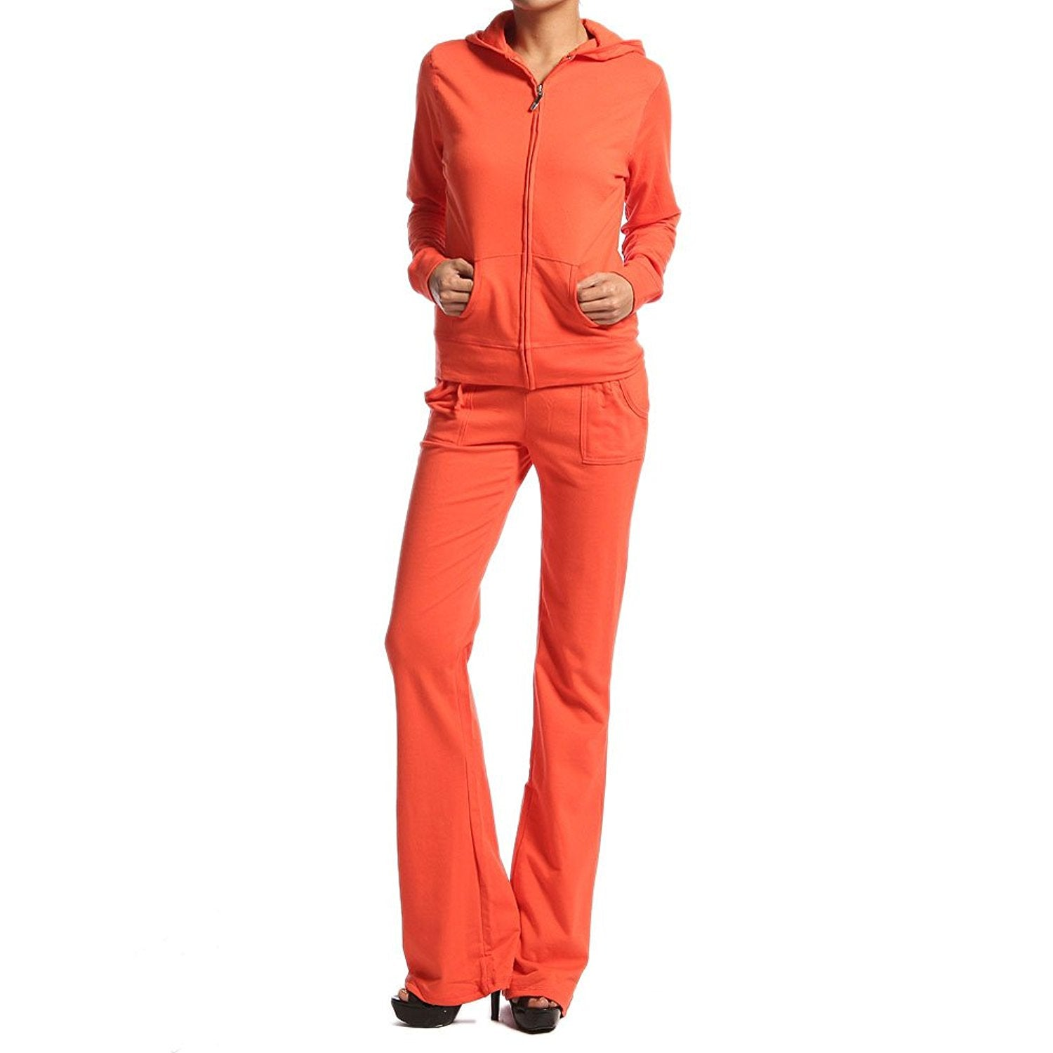 Hollywood Star Fashion Women's Cotton French Terry Jacket & Pant Tracksuit Set