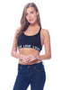 Khanomak Women's Padded Spandex V neck Strap Love Band Sport Bra