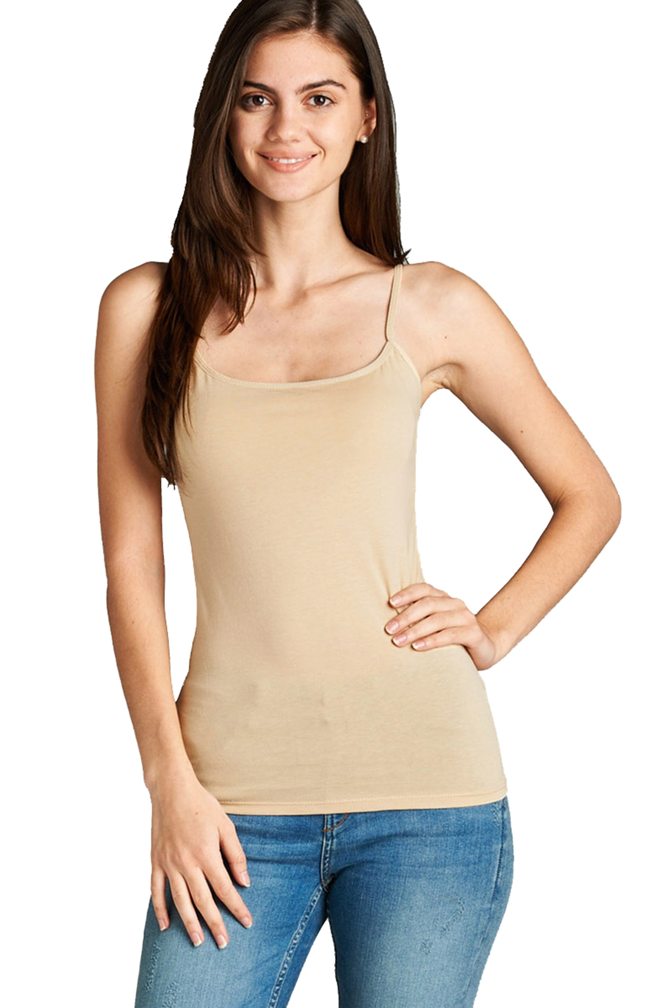 Womens Tank Tops with Built in Bra Adjustable Spaghetti Strap Camisole
