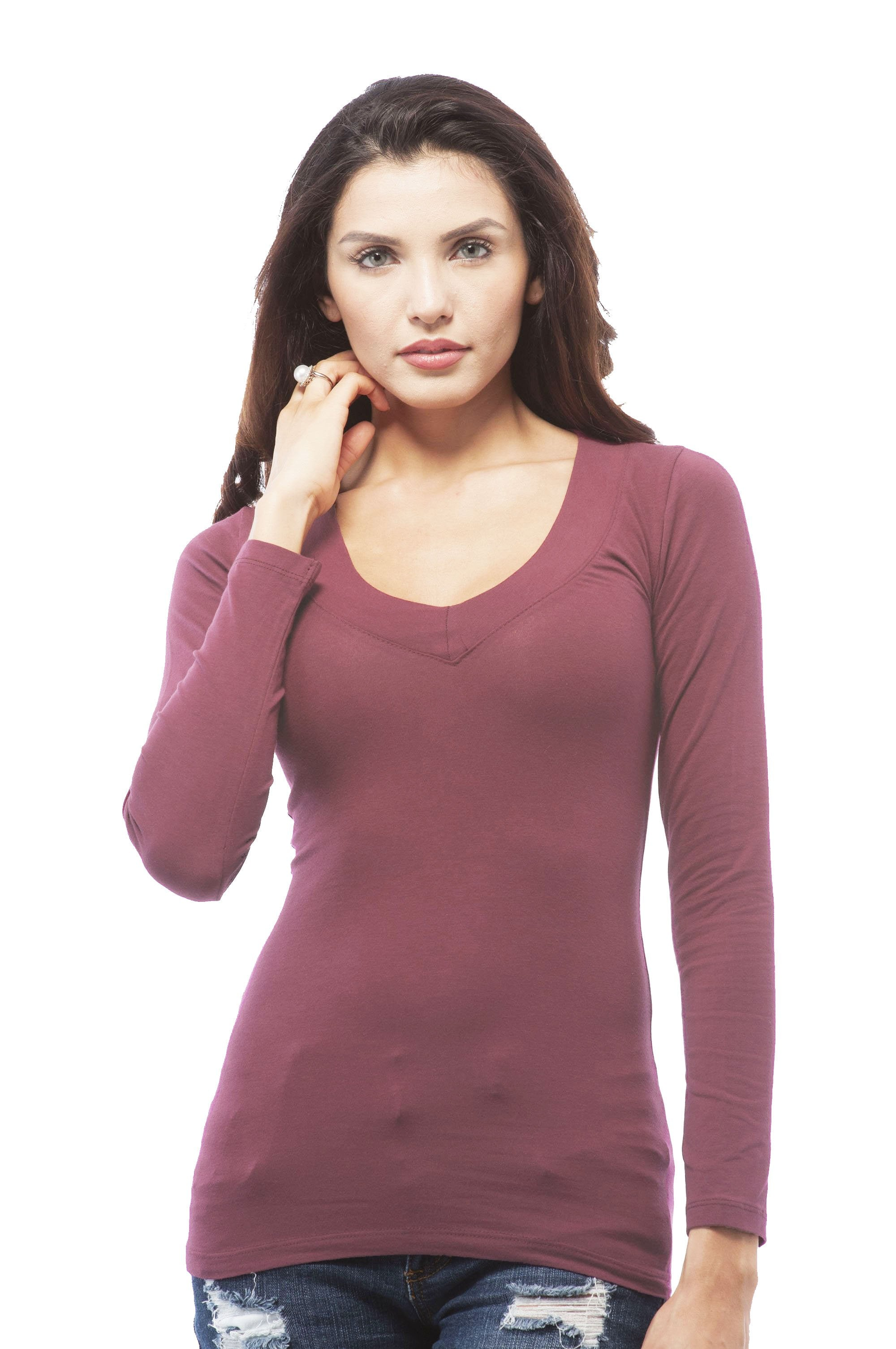 Women's Basic Plain Long Sleeves Deep V Neck Shirt Top Tee