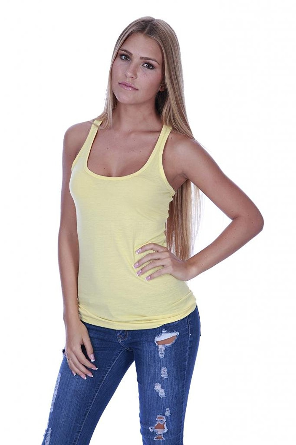 Hollywood Star Fashion Women's Racerback Stretch Long Tee Basic Top