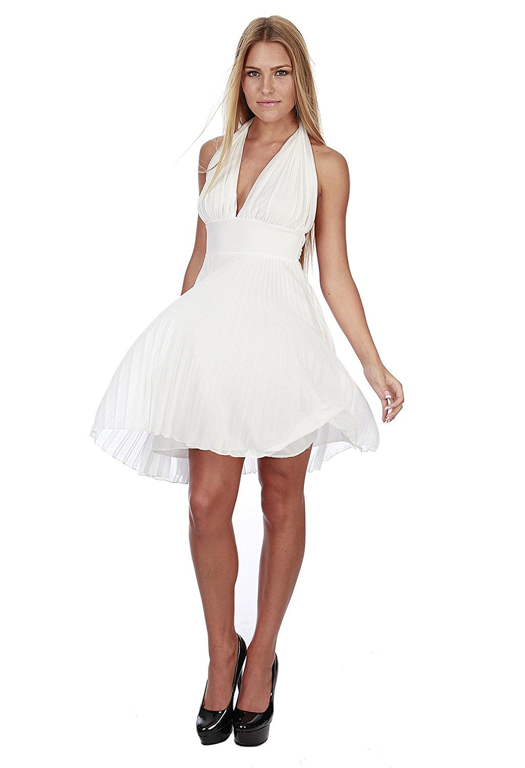 Hollywood Star Fashion Women's Marilyn Monroe Short Chiffon Pleated Halter Dress