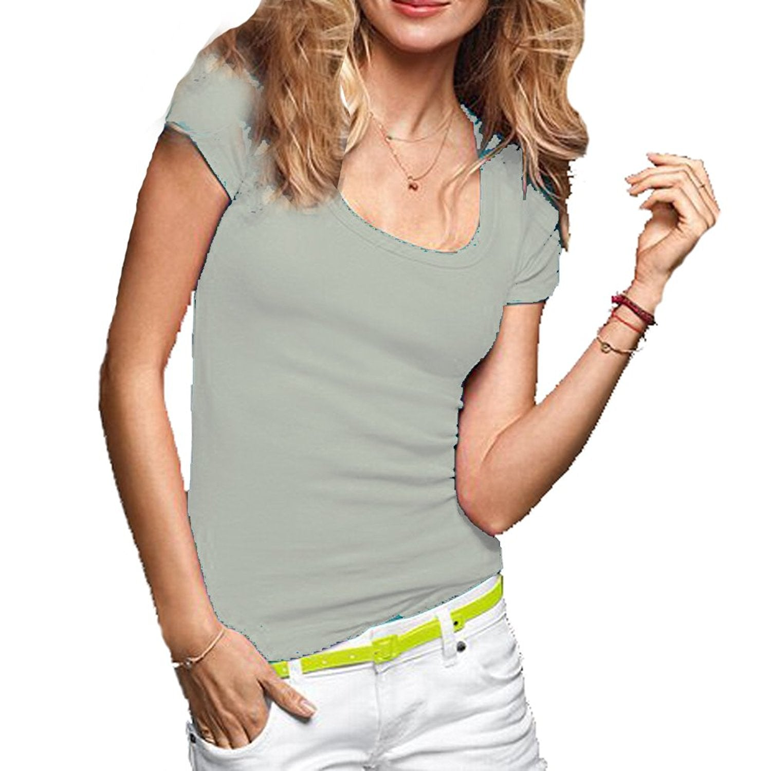 Hollywood Star Fashion Women's Short Sleeve Scoop Neck Cotton Top