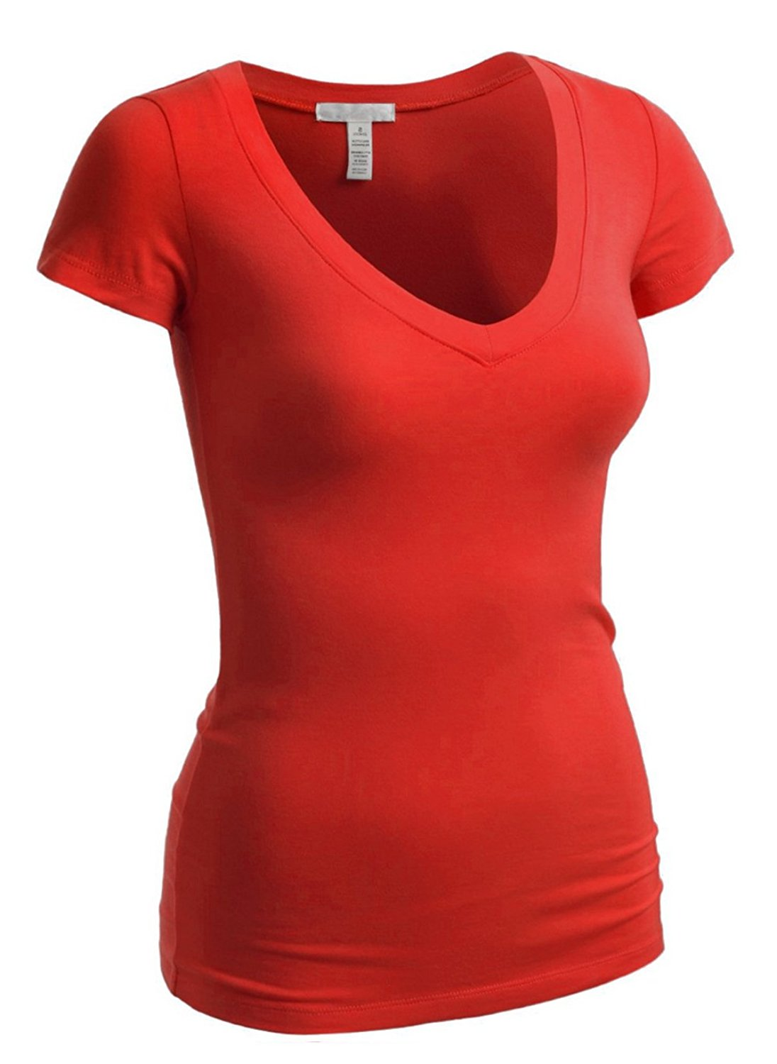 Short Sleeve V-neck Tee Tank Top Shirt Cotton (Medium, Red)