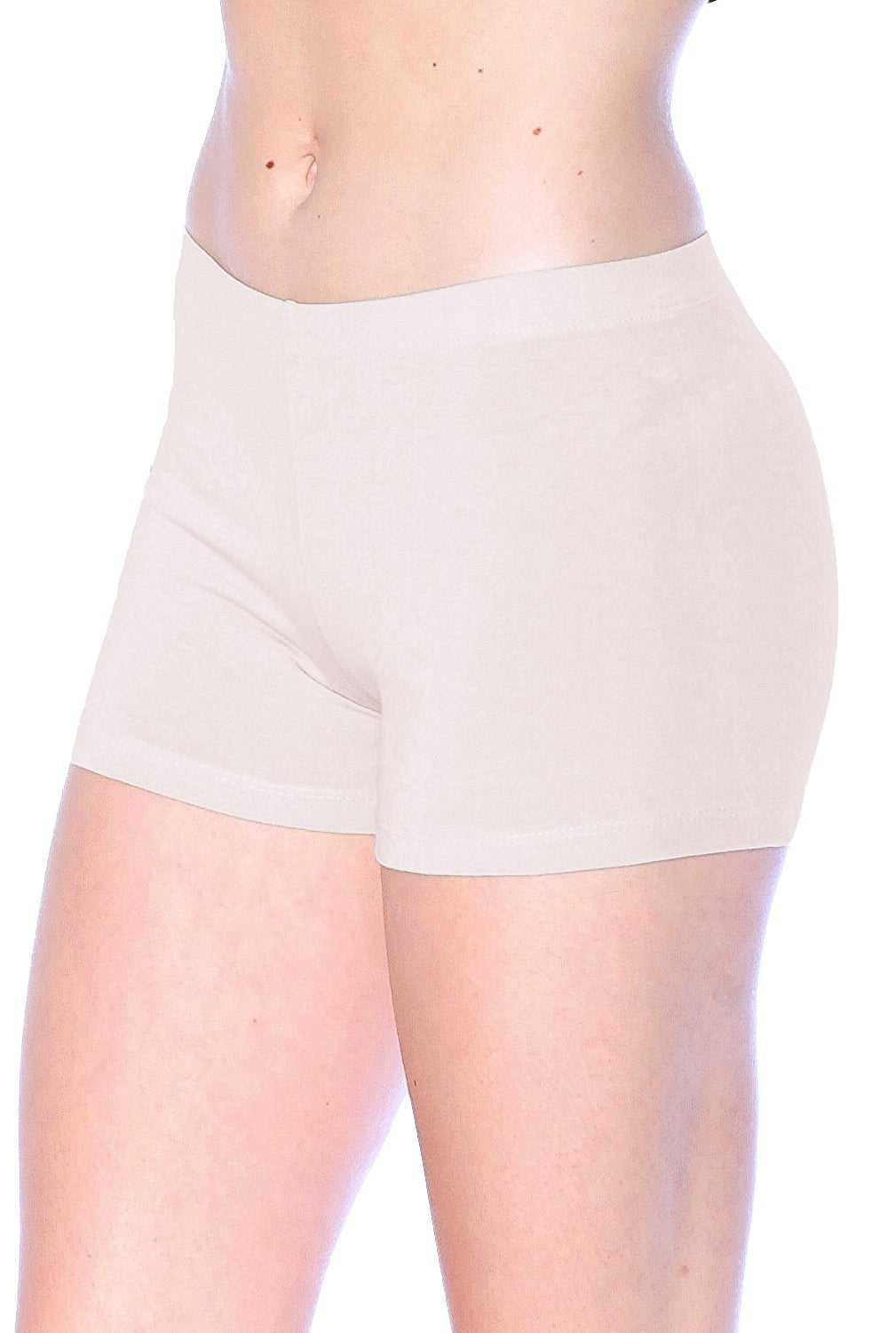 Cotton Blend Elastic Waist Band Legging Shorts (Large, Beige )