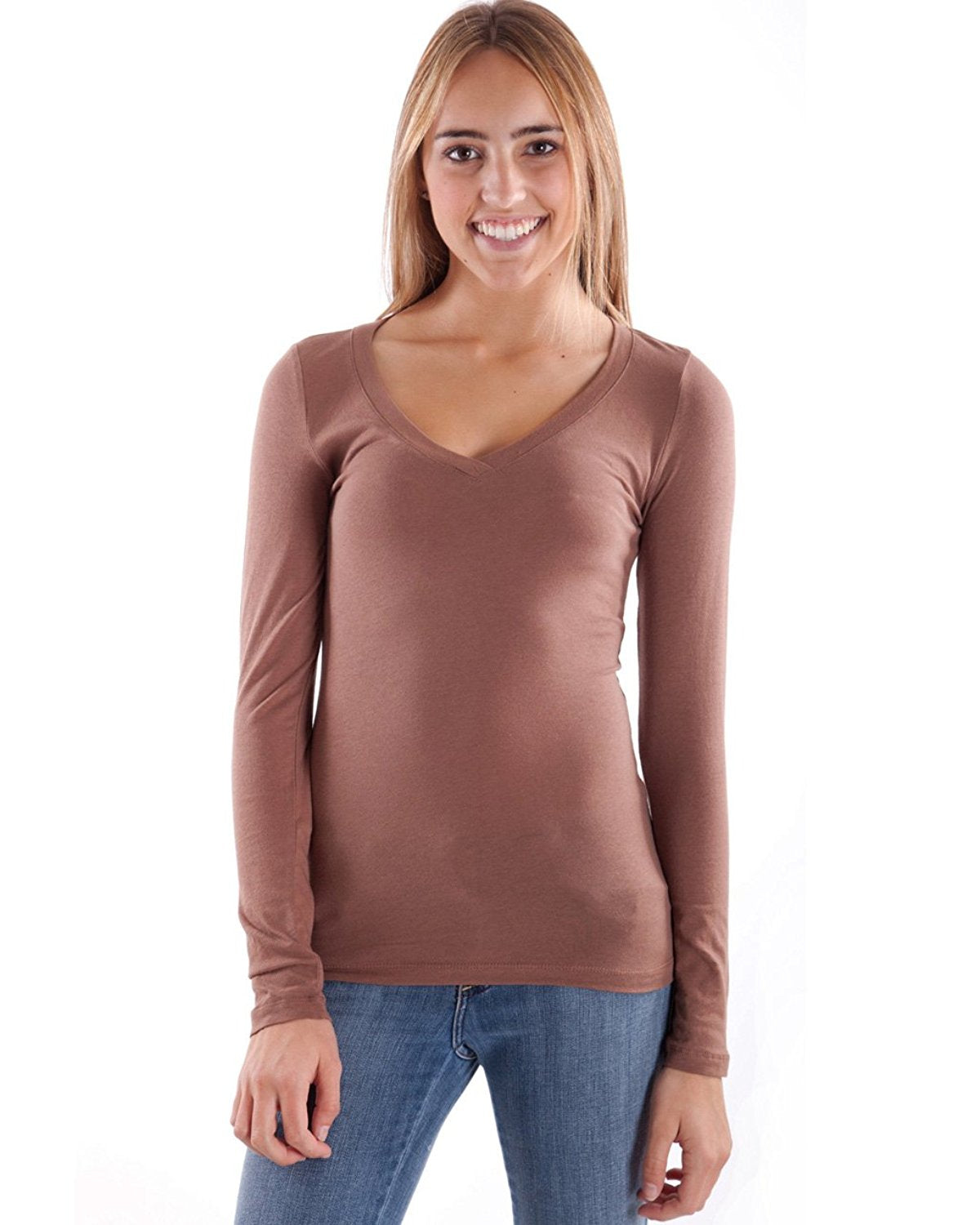 Hollywood Star Fashion Women's Long Sleeve V-Neck Tee Tank Top Shirt