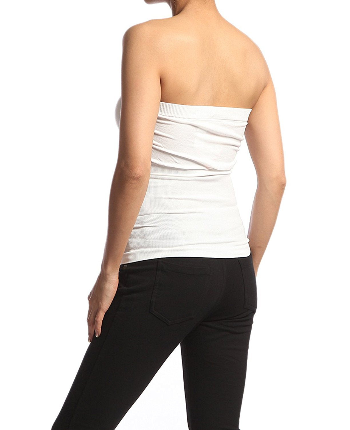 Hollywood Star Fashion Women's Plain Stretch Seamless Strapless Layer Tube Top