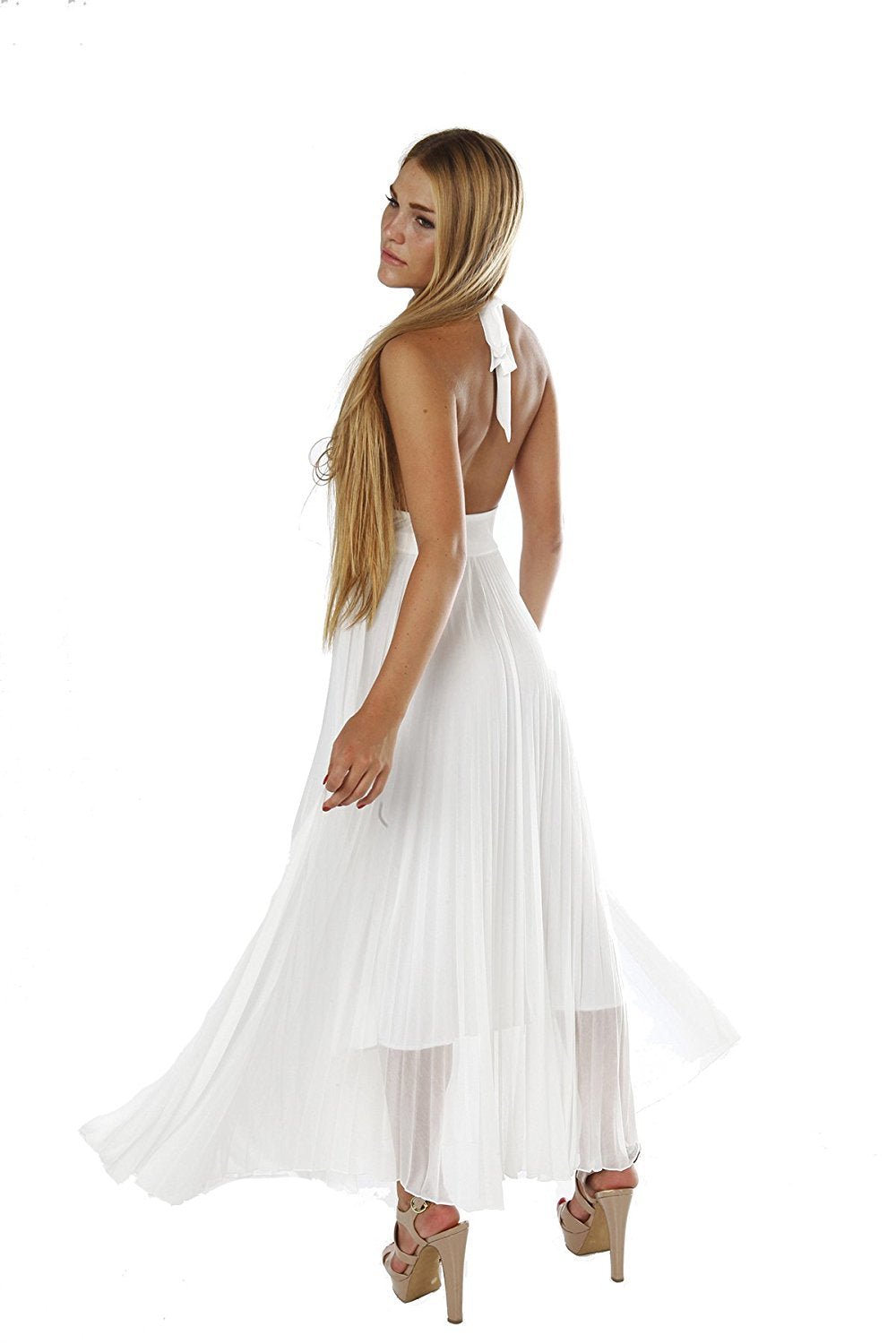 Hollywood Star Fashion Marilyn Monroe Long Chiffon Pleated Halter Dress Maxi